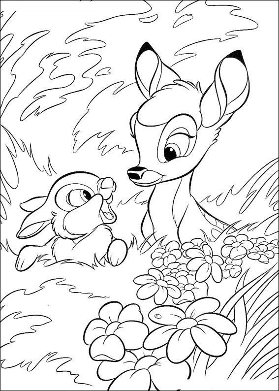 Bambi colouring page