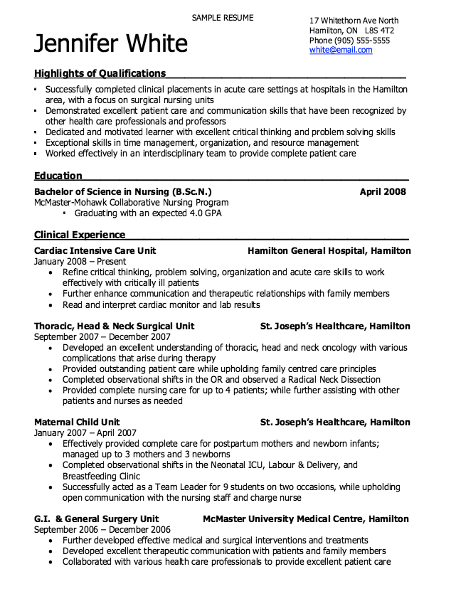 Patient Care Resume Examples Nursing Resume Registered