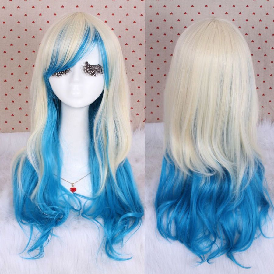 New Blonde+Blue Long Curly Wavy Anime Full Wig Gradient