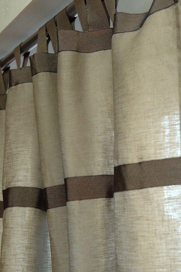 Rideau En Tissu Fin 100% Pur Lin Coloris Taupe Argile Http://Www