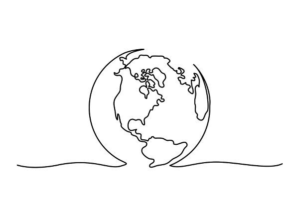 Globe of the Earth One line drawing ~ Graphic Objects ~ Creative Market