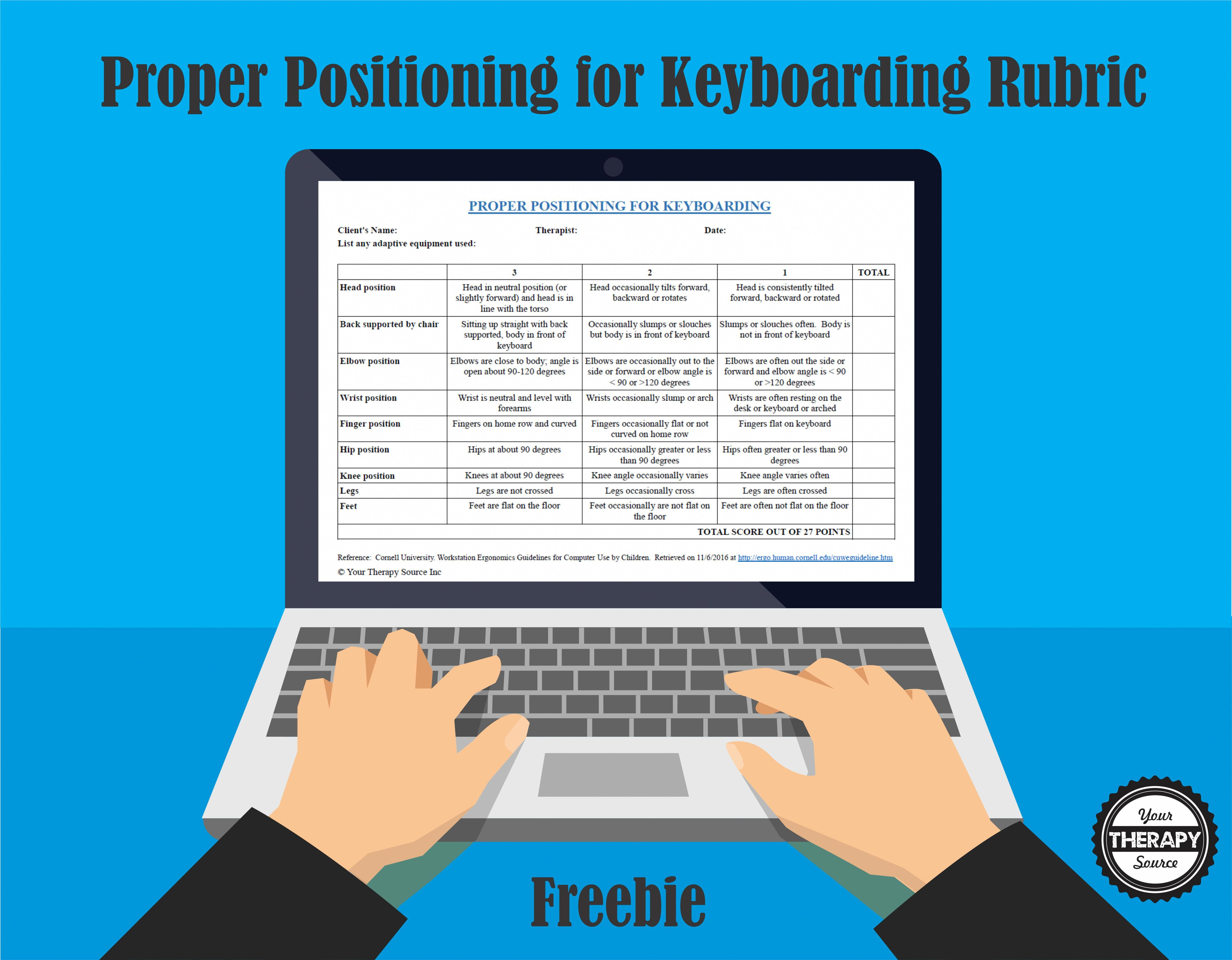 Proper Positioning For Keyboarding Rubric From The
