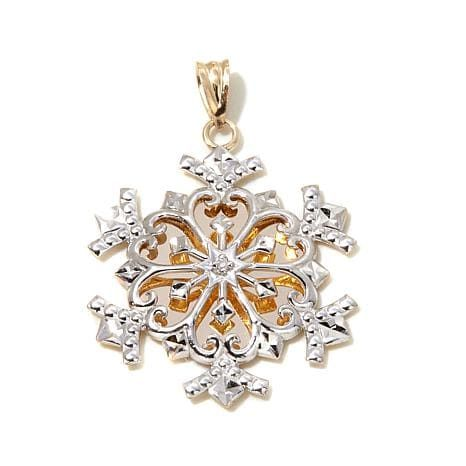 Michael Anthony Jewelry 10k Gold 2 Tone Diamond Accented Snowflake Penda 7893883 Hsn Snowflake Jewelry 10k Gold Pendant