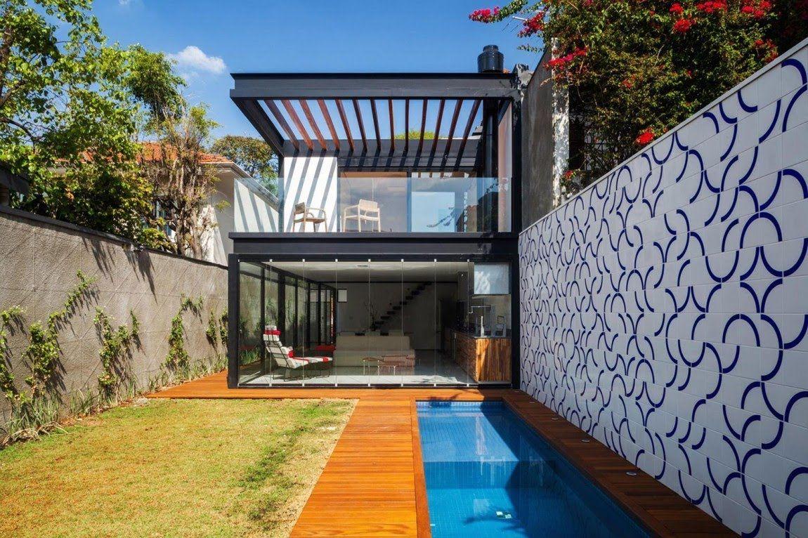Dise O De Casa Larga Y Angosta Planos Fachada E Interiores  ~ Piscinas Para Patios Pequeños Ideas