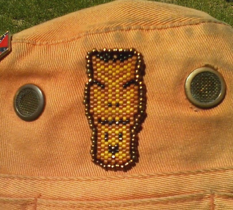 Tiki Face Beaded Patch, Sewn Onto Bucket Hat. Special