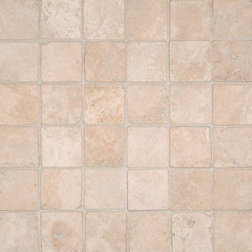 Smot Dur 2x2t Durango Cream 2x2 Tumbled In 12x12 Mesh Small Square Mosaic Travertine Travertine Stone Collection Backsplash Patterns