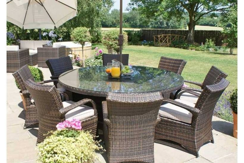 8 Seater Garden Table And Chairs With Parasol - Mediconist