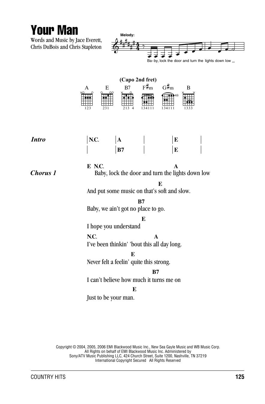Josh Turner Your Man Sheet Music Notes Chords Score Download Printable Pdf Sheet Music Notes Guitar Chords And Lyrics Lyrics And Chords