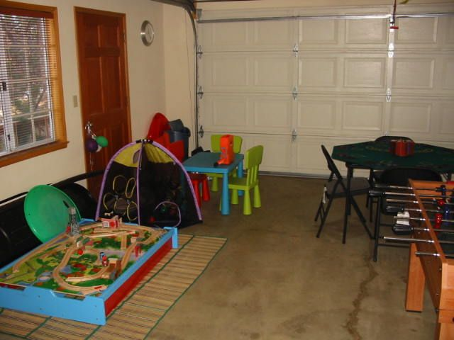 Garage Rooms temporary room in garage | garage/playroom (click on either photo