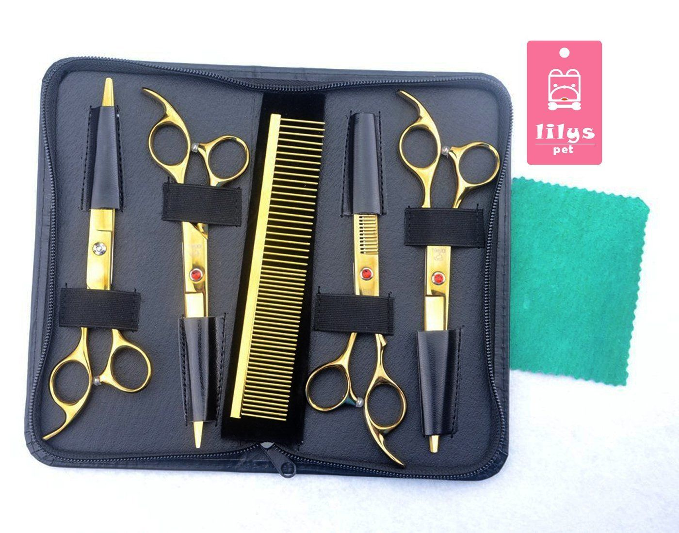 Lilys Pet 7inch Professional Golden Pet Dog Grooming Scissors Suit Cuttingandcurvedandthinning Shears Dog Grooming Scissors Dog Grooming Dog Grooming Supplies