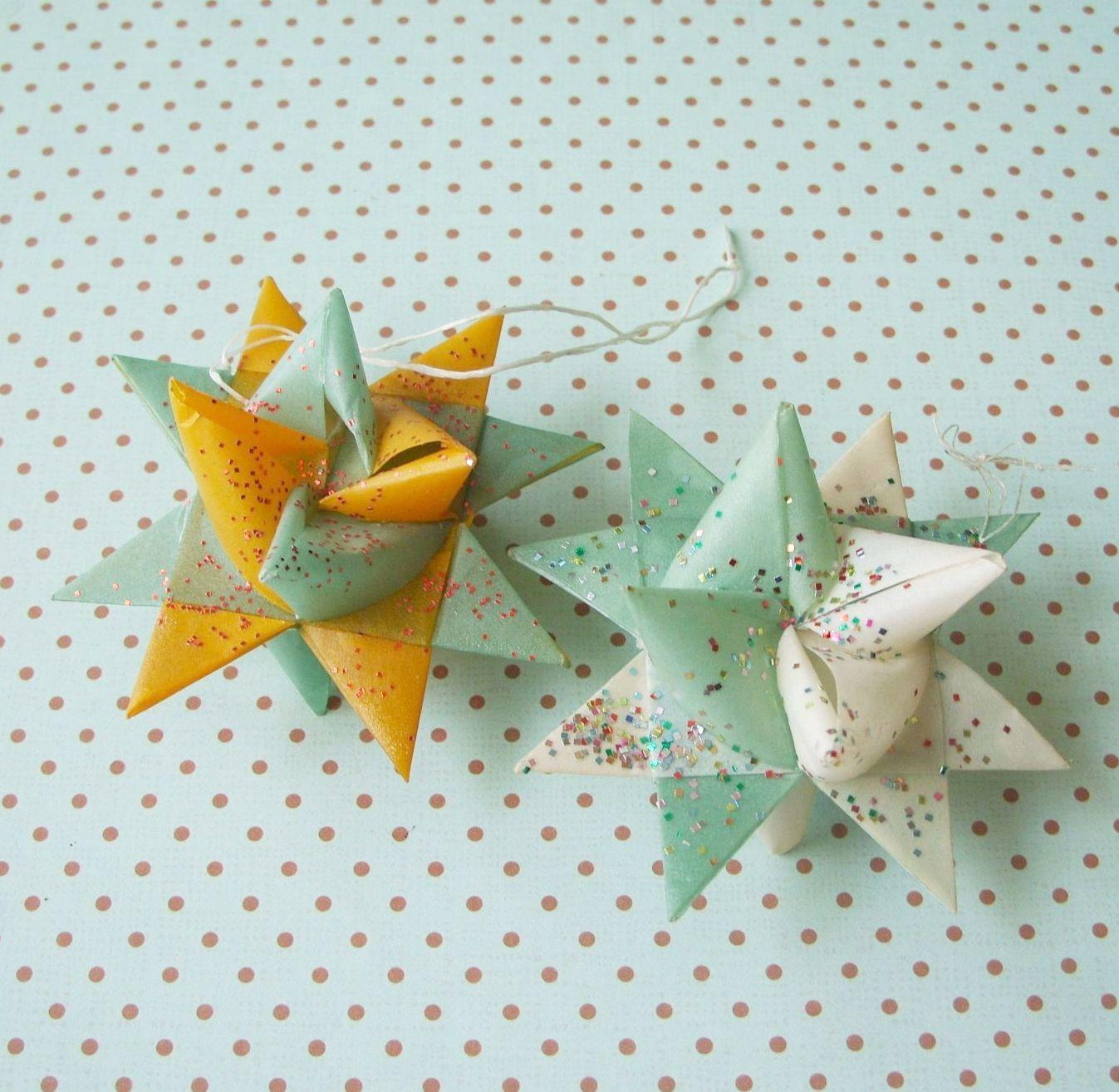 Vintage German Moravian Wax Paper Star Ornaments Lot Glitter