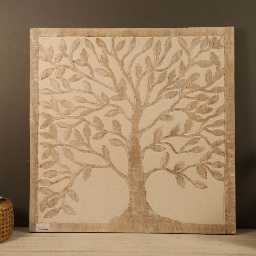 Wood Carved Wall Art TREE OF LIFE 60cm Square Decor Panel Hanging ...