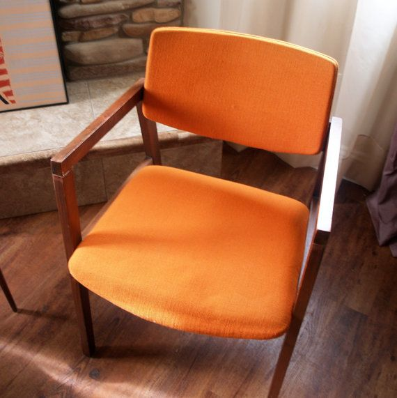 1960s Mid Mod Chairs Burnt Orange Danish Modern Style Side Desk Accent Dining Armchair Orange Dining Room Chairs Mid Century Modern Chair Dining Room Chairs