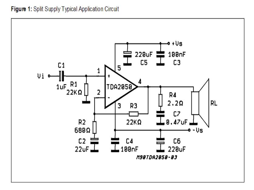 32 watt Amplifier Circuit using TDA2050 in 2020