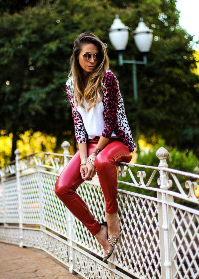 Cardigan Feminino com calça de couro   Look do dia