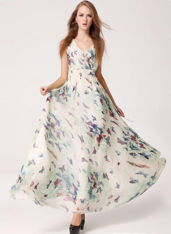 ärmelloses Kleid mit V-Ausschnitt und Schmetterling-Druck, weiß EUR€23.18