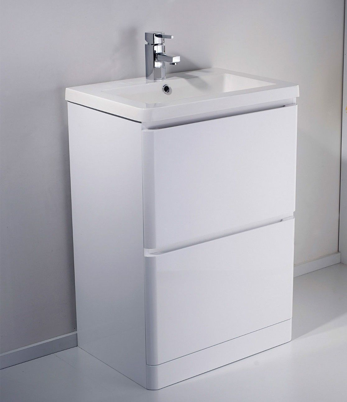 Alaska 600mm Freestanding White Gloss Basin Vanity Unit