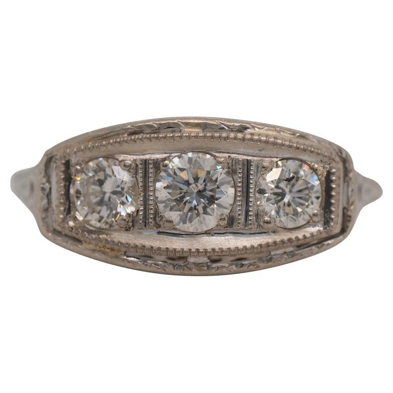 Art Deco Three-stone Diamond Engagement Ring In 18 Karat Gold, Circa 1920s