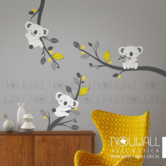 D Calque De Mur Amovible Gris Koala Bear Sur Branches Animal Arbre Enfant B B Stickers