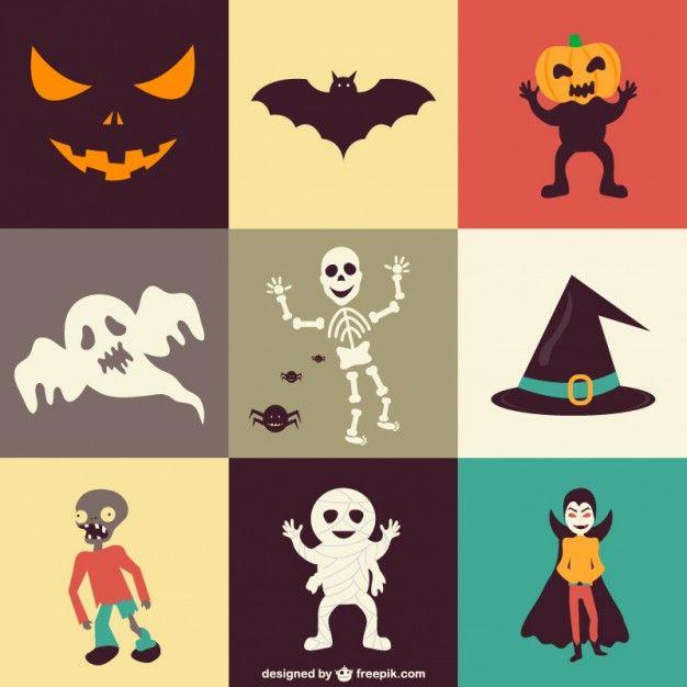 Conjunto de iconos para Halloween Vector Gratis