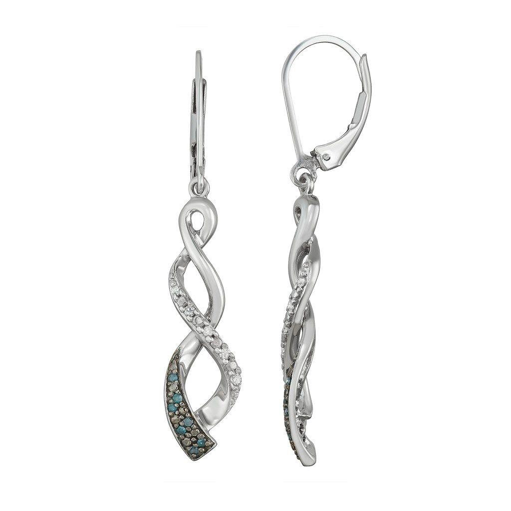 099361856 Sterling Silver 1/6 Carat T.W. White & Blue Diamond Twist Drop Earrings
