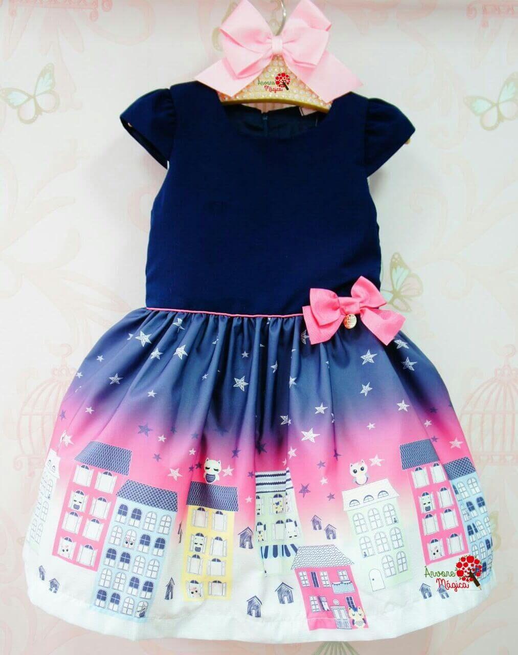 3293577c90 Vestido Infantil Céu Estrelado Mon Sucré