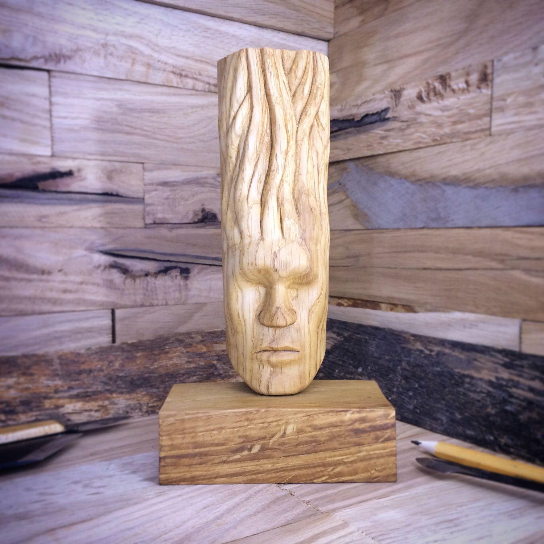 Sale abstract modern wood sculpture blind calmness face