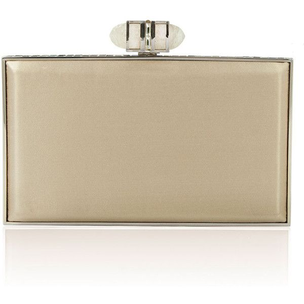 Judith Leiber Satin Coffered Rectangle Clutch Bag, Champagne