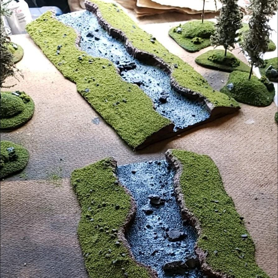 River Section Modular Wargaming Terrain Miniature Etsy Wargaming Terrain Warhammer Terrain Terrain