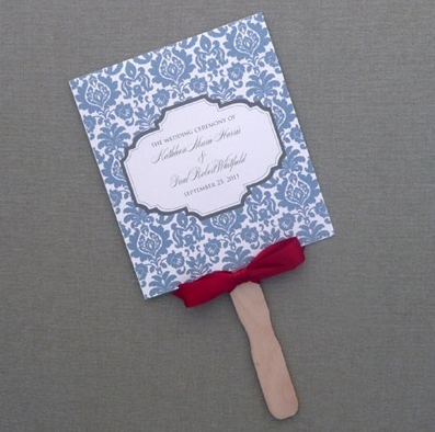 DIY Blue Rococo Paddle Fan Wedding Program Template Add Your Text And Print At