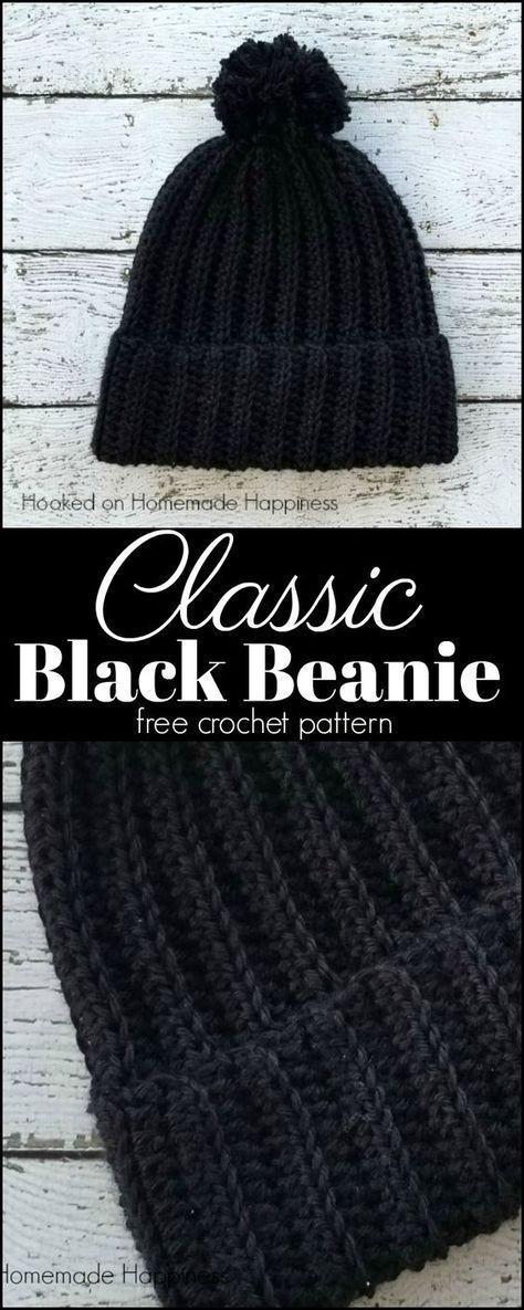 black beanie crochet pattern | sewing | Pinterest | Crochet ...