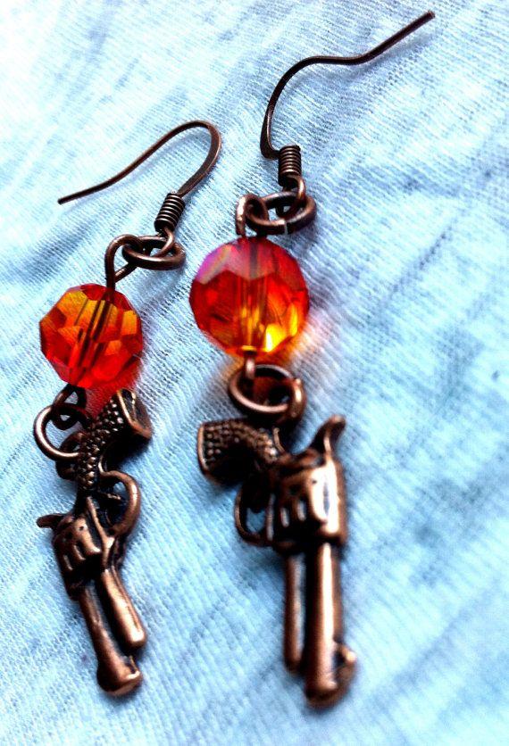 Wild West Bronze Guns Orange Crystal Earrings by Hankat on Etsy, $9.00
