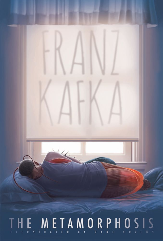 A book cover illustration to Franz Kafka's The Metamorphosis. The story describes how the main character, Gregor Samsa, wakes up one morning to discover he has transformed into a cockroach. Despite the creepiness of this, I want the viewer to sympathize with poor Gregor, thus I depicted his transformation.  In this image, I still relate with him as a person. All rights reserved.