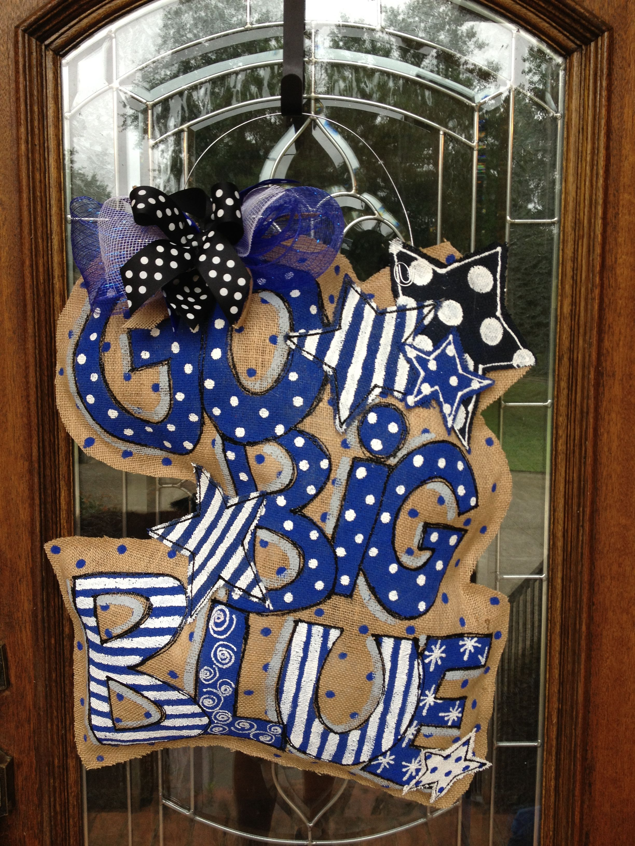 Go big blue burlap door hanger kentucky wildcats rule