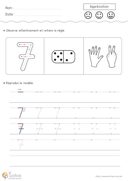 Écriture des nombres de 1 à 10 en chiffres