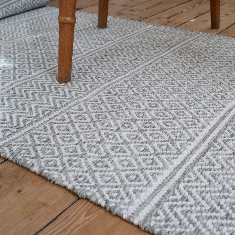 Iris Pale Green Scandinavian Floor Runner Machine Washable And Made From Woven Cotton This Rug Is Prepared For Life In Any Cotton Rag Rug Scandi Rug Rag Rug