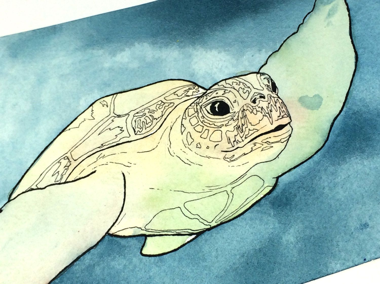 Ocean Wall Art, Sea Turtle Decor, Sea Turtle Watercolor, Sea Turtle ...