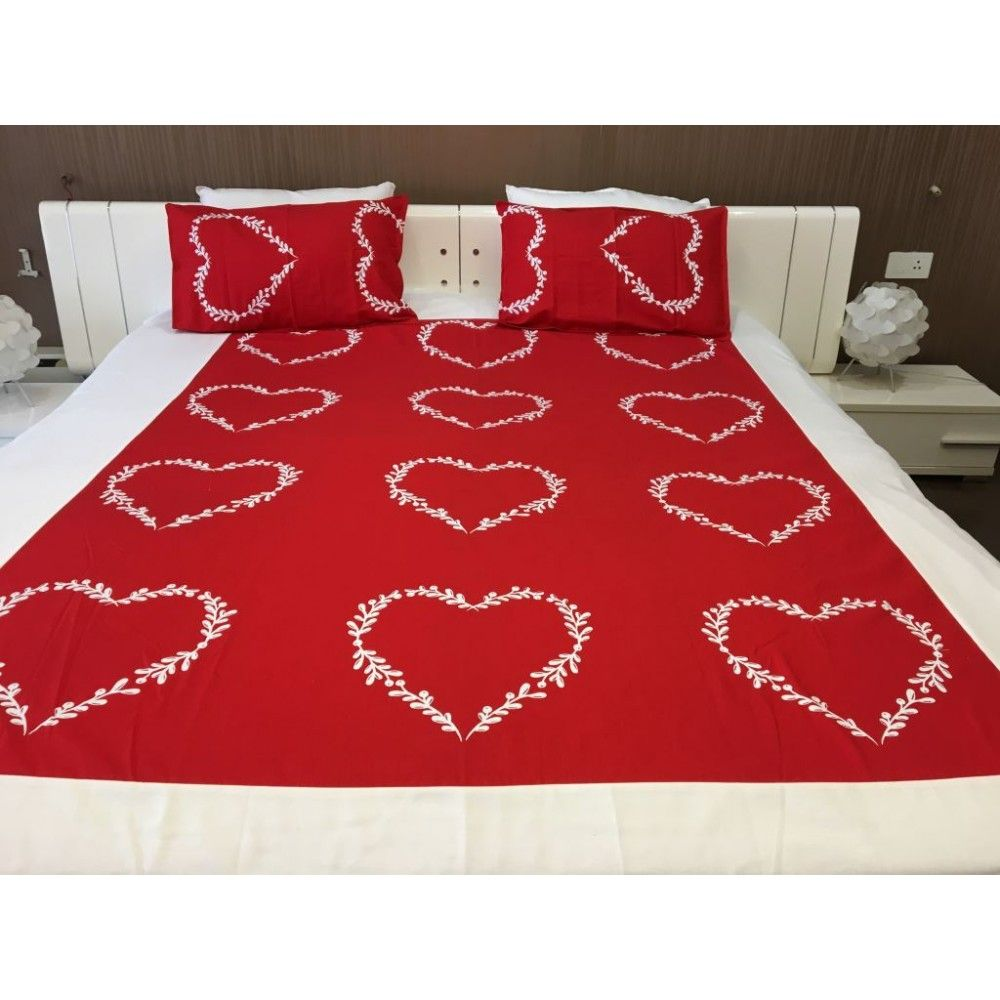 Red And White Heart Shaped Bedsheet With 2 Pillow Covers. Online Bed Sheets