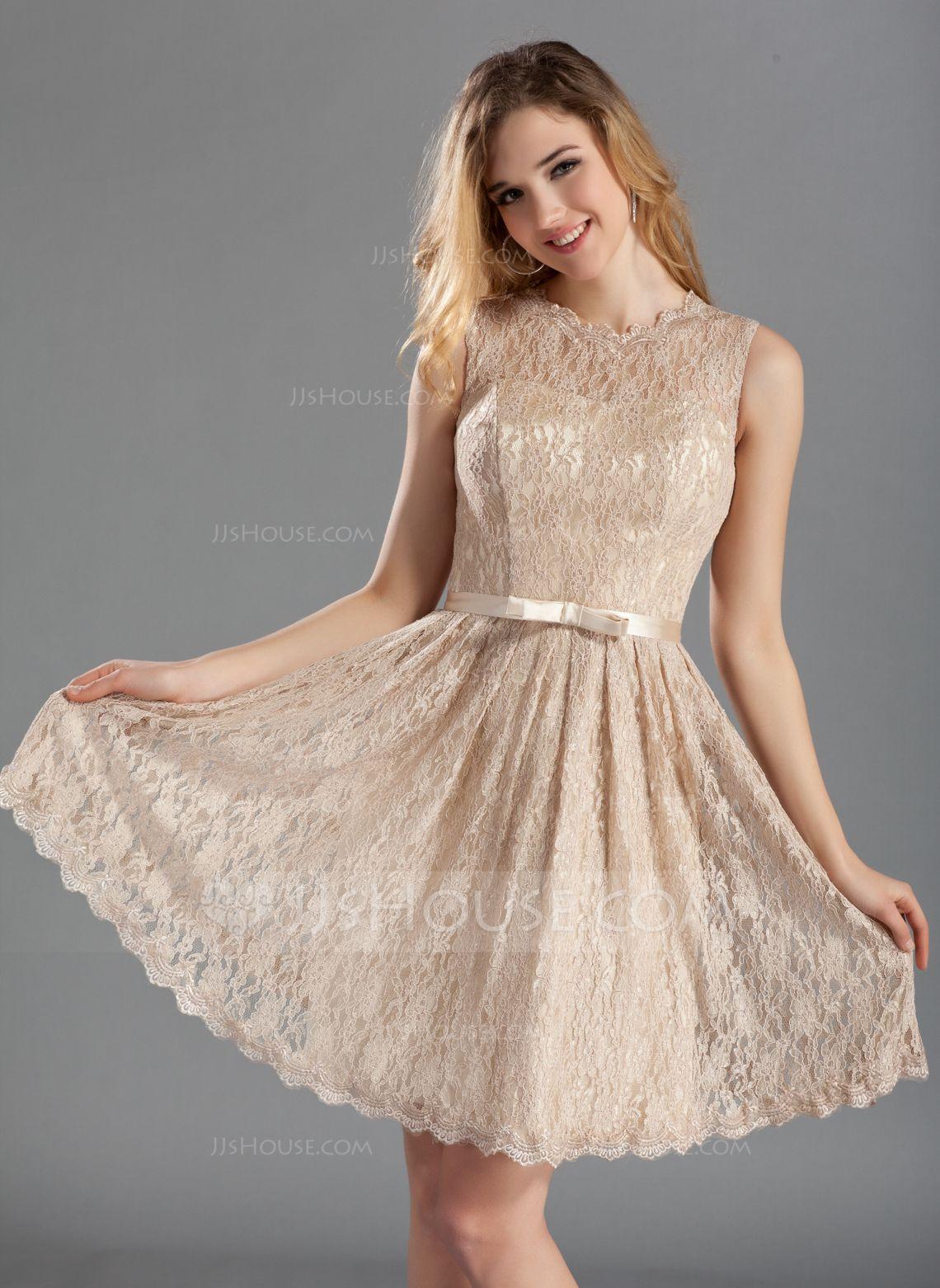 A lineprincess scoop neck knee length charmeuse lace bridesmaid a lineprincess scoop neck knee length charmeuse lace bridesmaid dress with bow ombrellifo Images