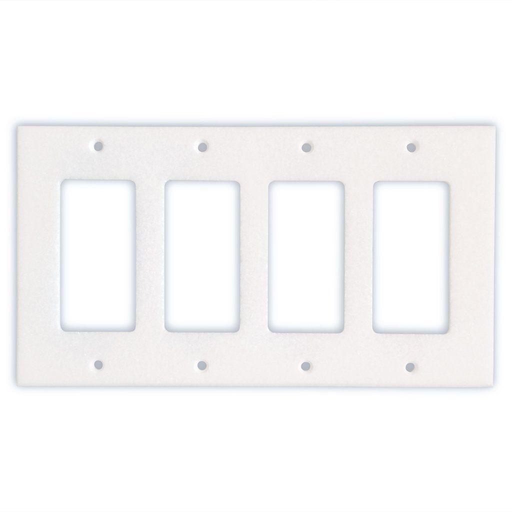 Thassos White Marble Quadruple Rocker Switch Wall Plate