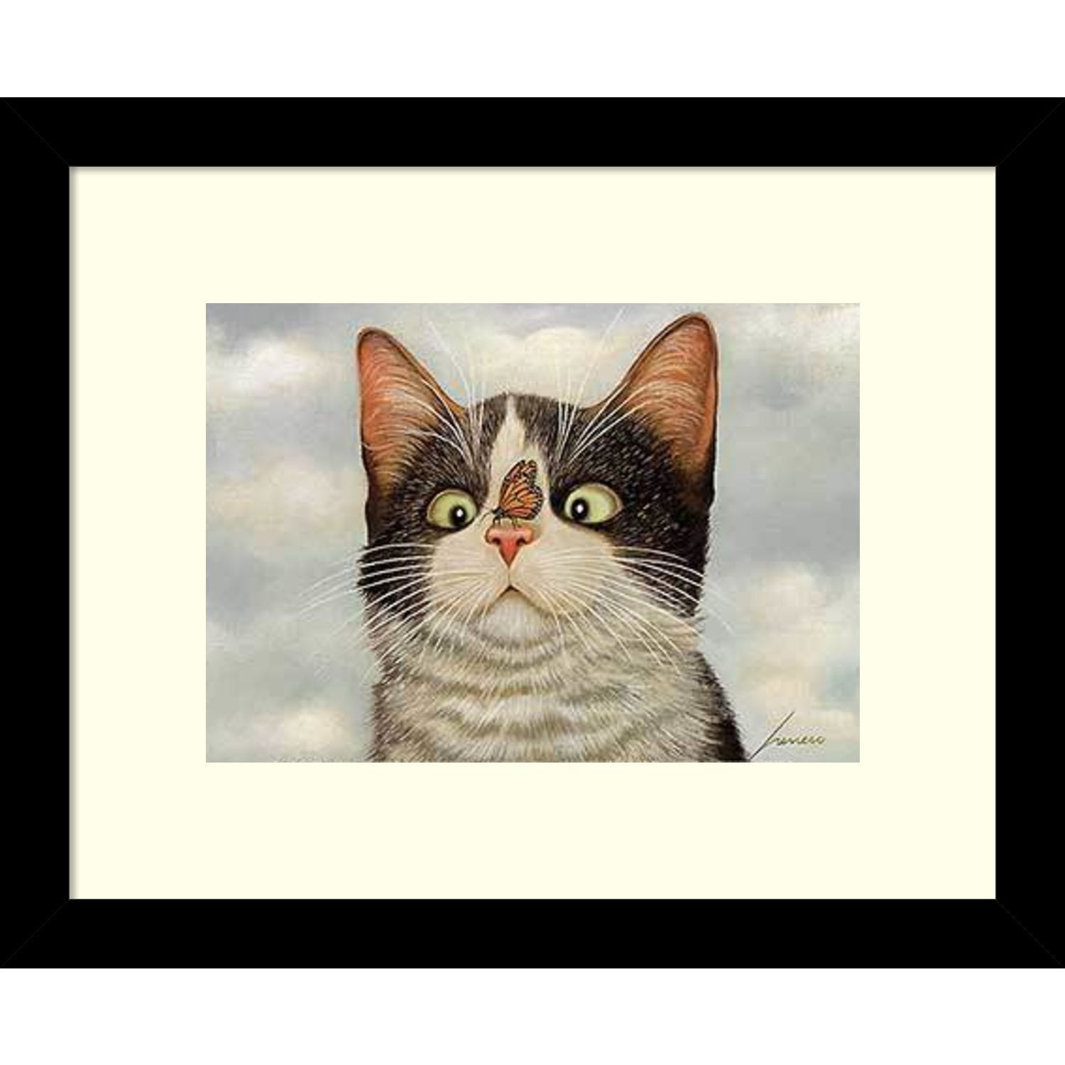 Framed Art Print \'Hugo Hege Cat and Butterfly\' by Lowell Herrero 11 ...