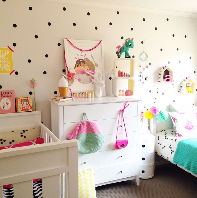 Polka Dots Decals Toddler girl room, Big girl bedrooms
