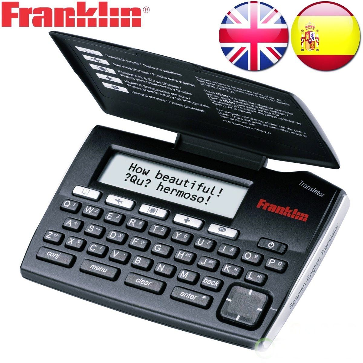 Franklin english spanish phrasebook and translator travel device tes221 communicate easily in english and