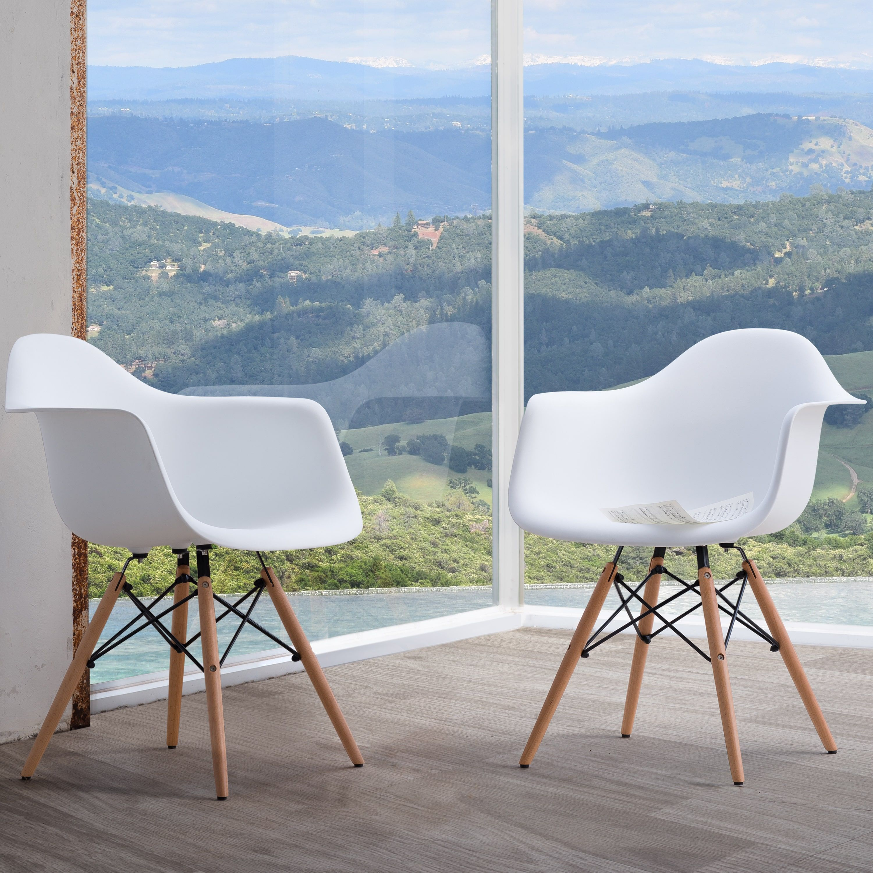 Siena Dining Chairs with Wood Legs by Corvus (Set of 2) (White ...
