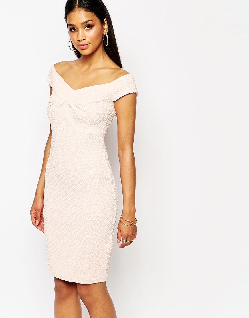 Lipsy lipsy off shoulder textured bodycon dress at asos dresses