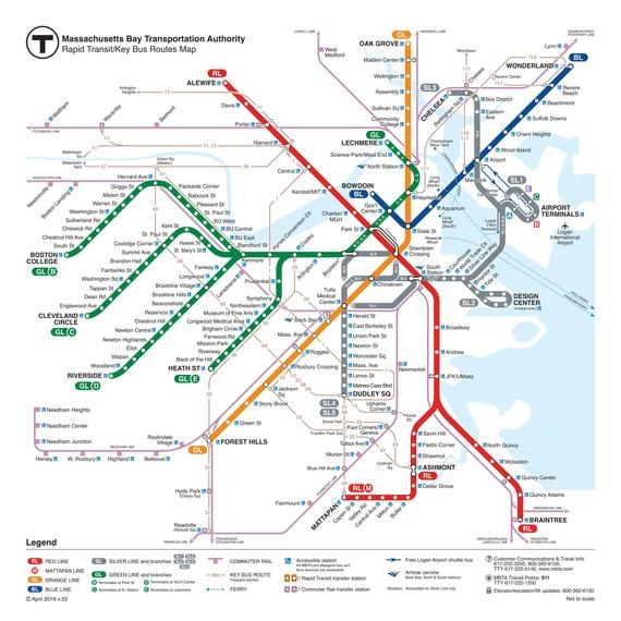 Boston Subway Map Poster.Large Boston Subway Bus Map 24 X24 2019 Current Train Rail T Map