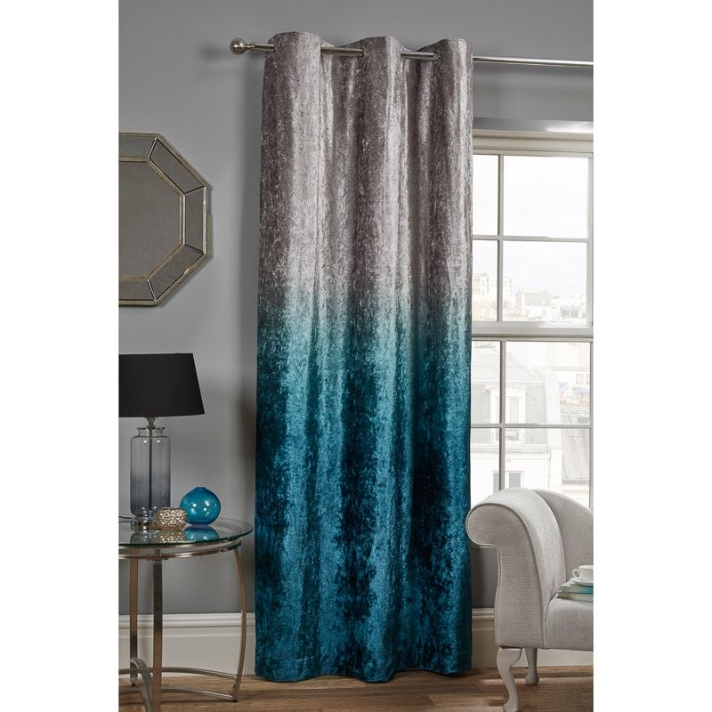 Ombre Crushed Velvet Panel 54 X 86 Teal Living Rooms Teal Grey Living Room Teal Living Room Decor