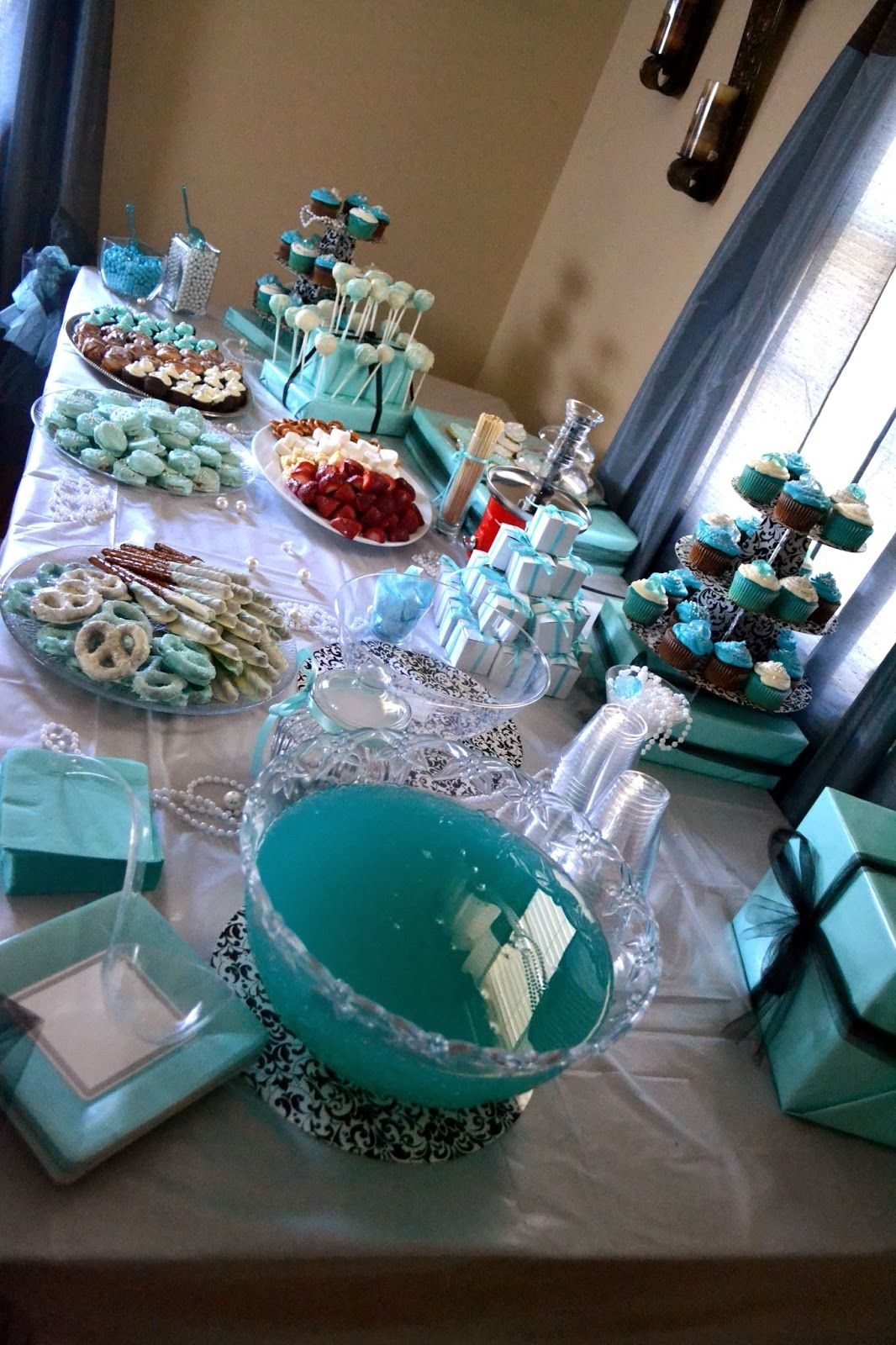 wedding shower candy buffet ideas%0A Breakfast at Tiffany u    s Themed Bridal Shower   Dessert Table   Candy Bar