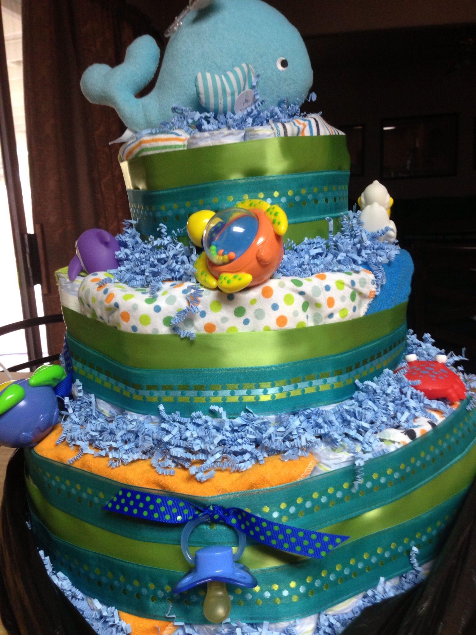 Baby Boy Shower Ocean Theme Diaper Cake