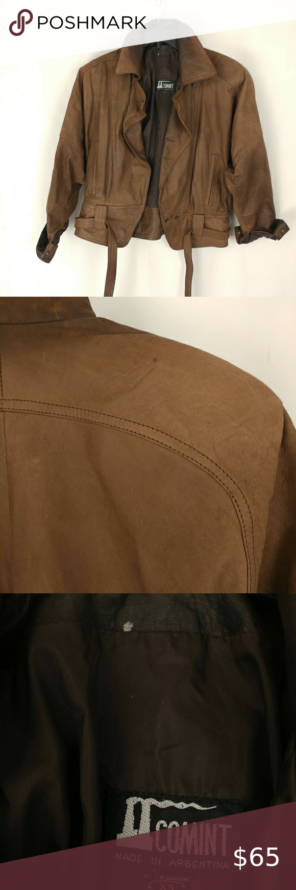 Vintage Comint Leather Jacket Made In Argentina Leather Jacket Brown Leather Jacket Cropped Style [ 1740 x 580 Pixel ]